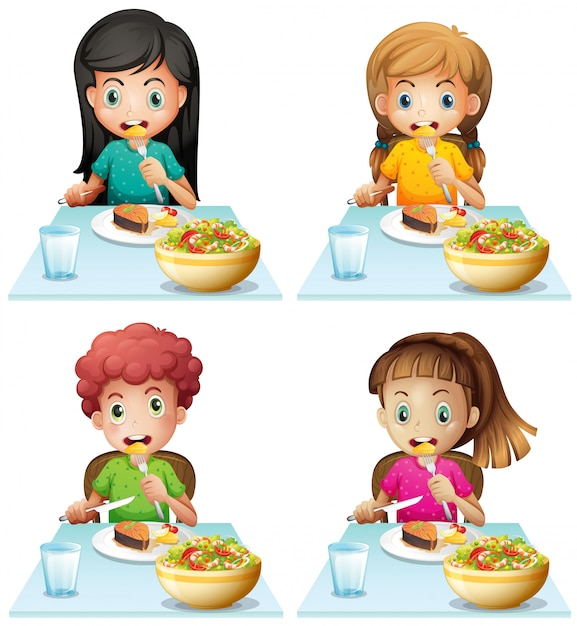 Boy and girls eating at the dining table Free Vector