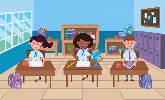 Boy and girls in school classroom Free Vector