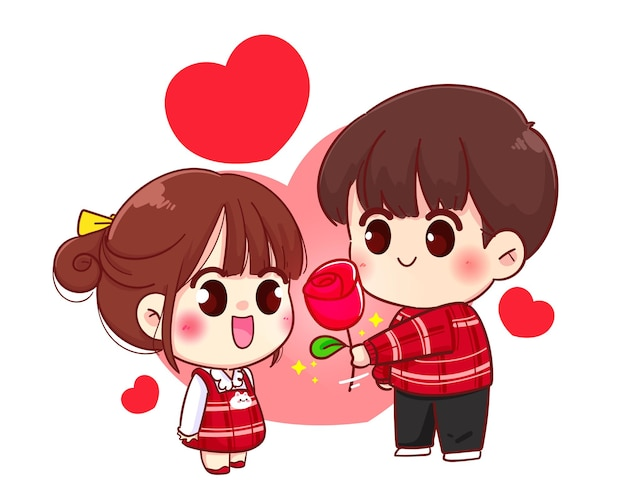 Boy give flower to girls cute couple, happy valentine, cartoon character illustration Premium Vector
