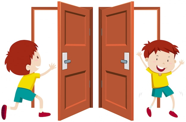 Boy going in and out the door Free Vector
