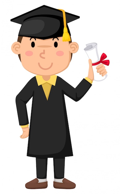 Boy in graduation gown Premium Vector