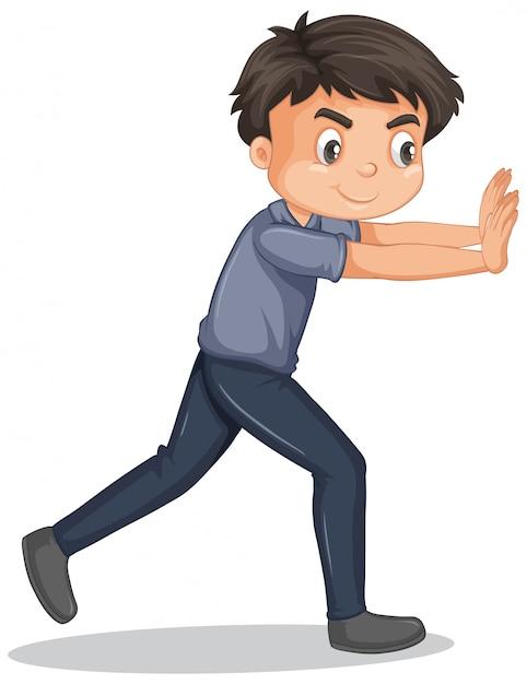 Boy in gray shirt pushing the wall Free Vector