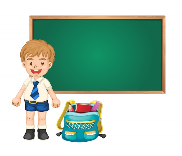 Boy and green board Free Vector
