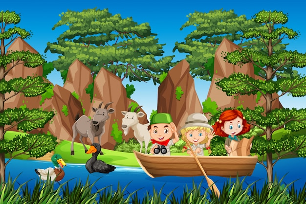 Boy and gril scout on the wooden boat Premium Vector