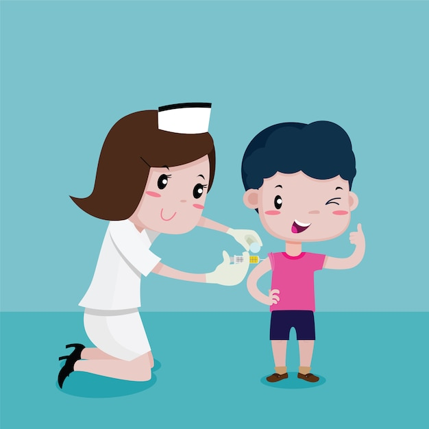 Boy happy while the nurses was injecting, vector cartoon Premium Vector