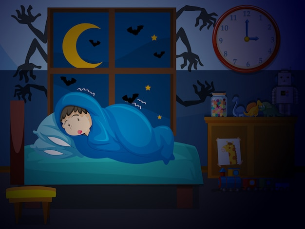 A boy having a nightmare Premium Vector