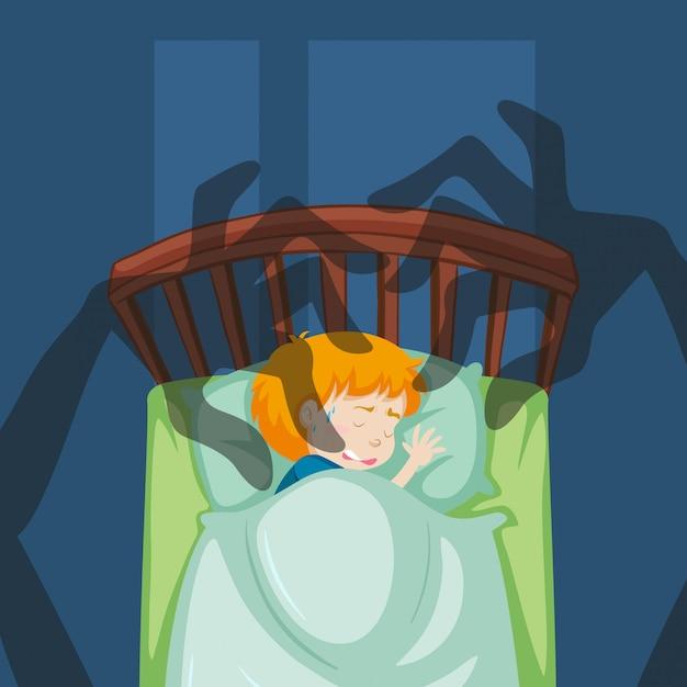A boy having a nightmare Free Vector
