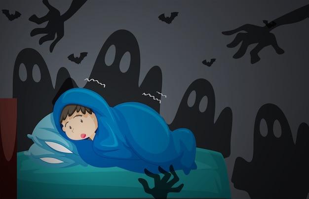 A boy having nightmare Premium Vector