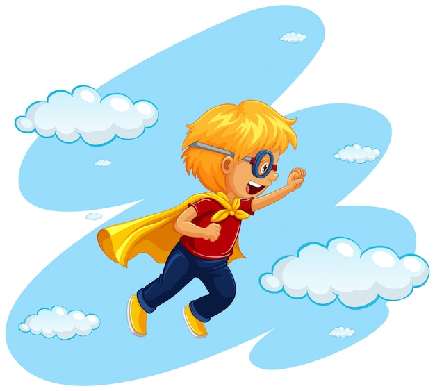 Boy in hero costume flying in sky Free Vector