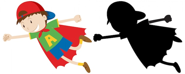 Boy in hero costume with its outline and silhouette Free Vector