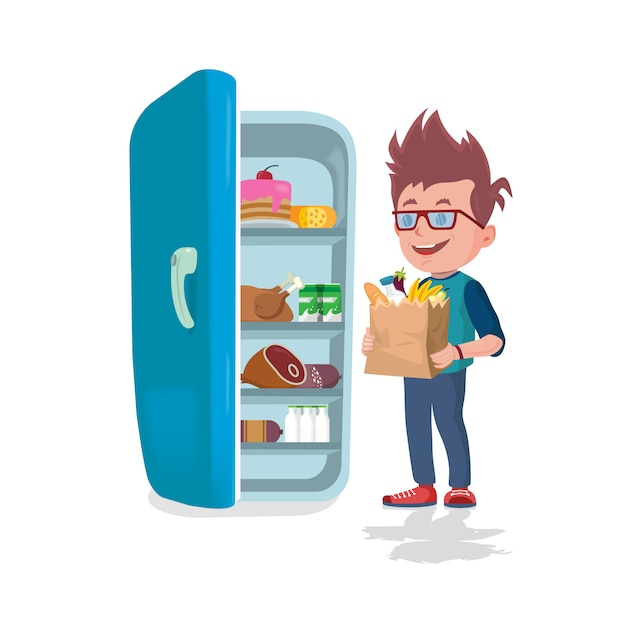 Boy holding bags full of food in front of a refrigerator Premium Vector