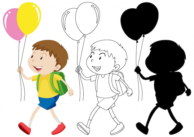 Boy holding balloon with its outline and silhouette Free Vector