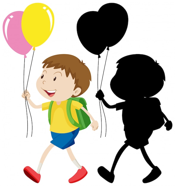 Boy holding balloon with its silhouette Free Vector