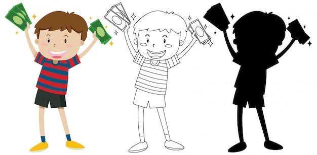Мальчик держит банкноты в цвете и наброски и силуэт Бесплатные векторы