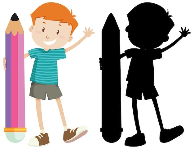 Мальчик держит большой карандаш в цвете и силуэт Бесплатные векторы