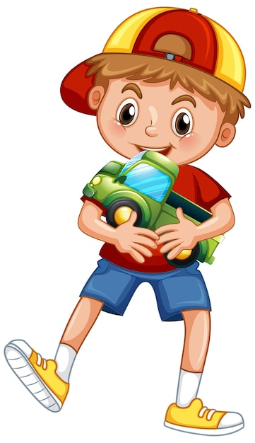 Boy holding car toy Free Vector
