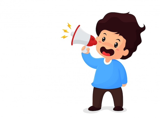 Boy holding a megaphone shouting for sale concept of promotion of product price reduction Premium Vector