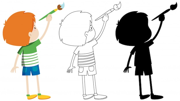 Boy holding paintbrush with its outline and silhouette Free Vector