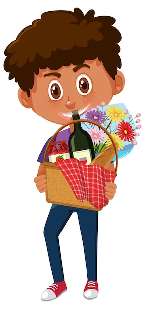Premium Vector Boy Holding Picnic Basket Cartoon Character