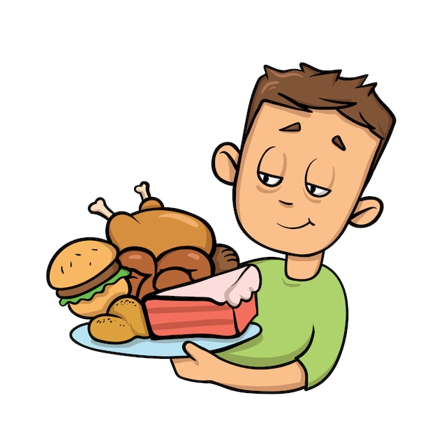Boy holding plate full of junk food. overeating. cartoon  icon.   illustration.  on white background. Premium Vector