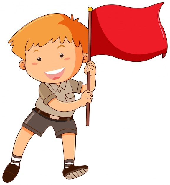 Boy holding red flag Free Vector