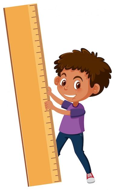 A boy holding ruler Premium Vector
