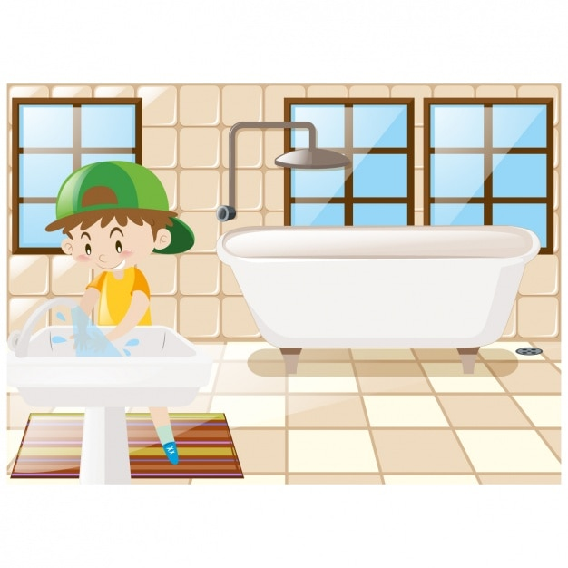 Boy In The Bathroom Background Free Vector