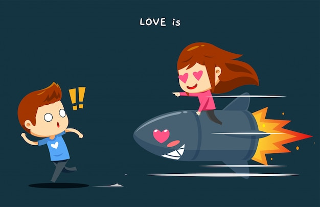 A boy is chased by a girl on top of the rocket Premium Vector
