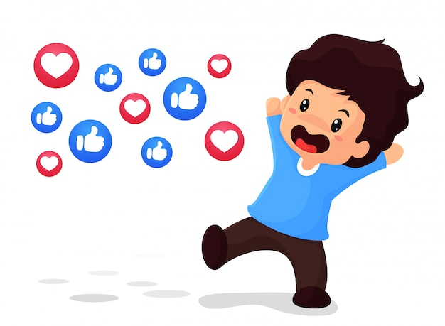 The boy is glad to be popular in social media. with thumb and heart icons Premium Vector