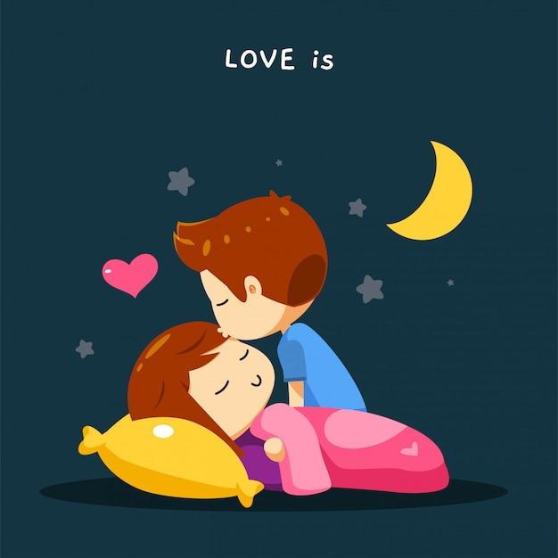 A boy is kissing his spouse's forehead Premium Vector