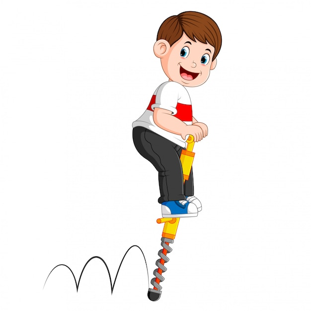The boy is playing with the jumping stick Premium Vector