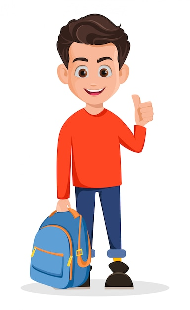 Boy is ready for school, cartoon character Premium Vector
