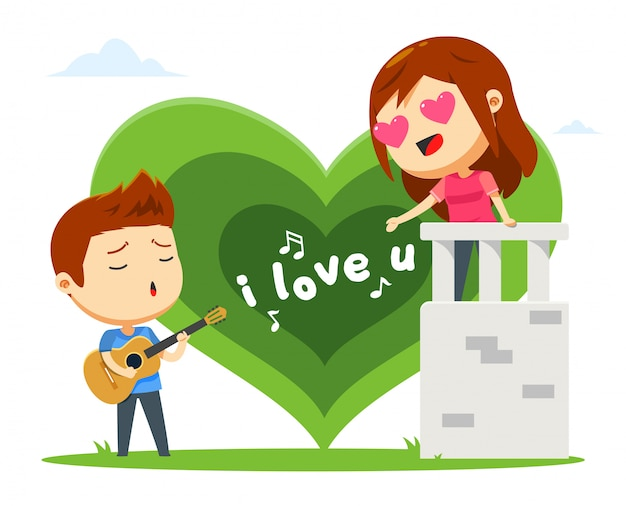 A boy is singing for his girl Premium Vector