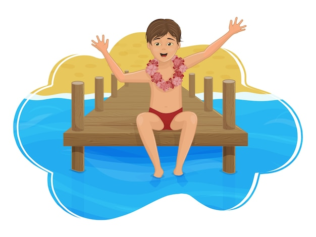 The boy is sitting on the pier, against the background of the sea and the beach. paradise island. cartoon style. Premium Vector