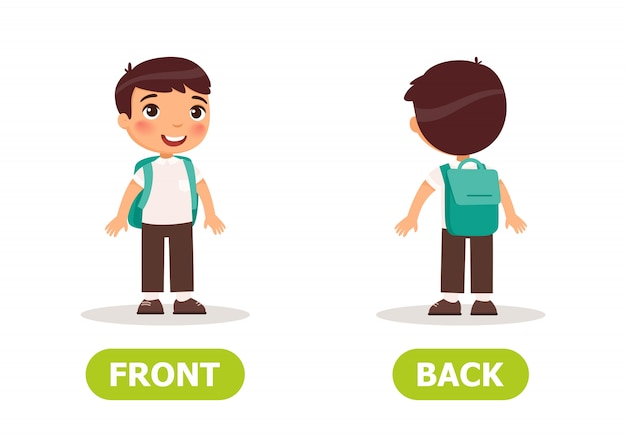 The boy is standing back and in front Premium Vector