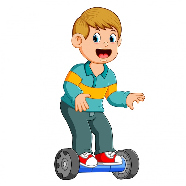 The boy is standing on the scooter electric smart balance Premium Vector