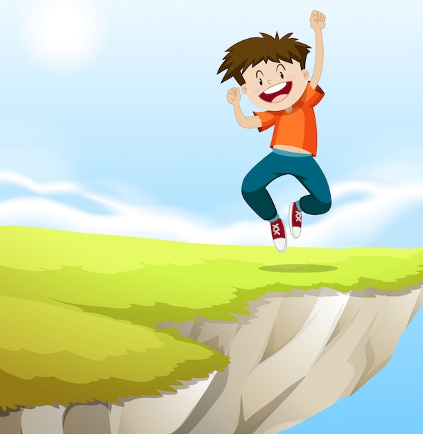Boy jumping on the cliff Free Vector
