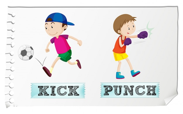 Boy kicking and punching Free Vector
