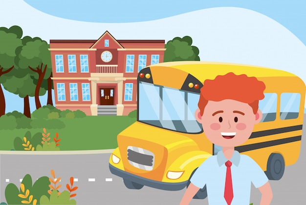 Boy kid and bus school Free Vector