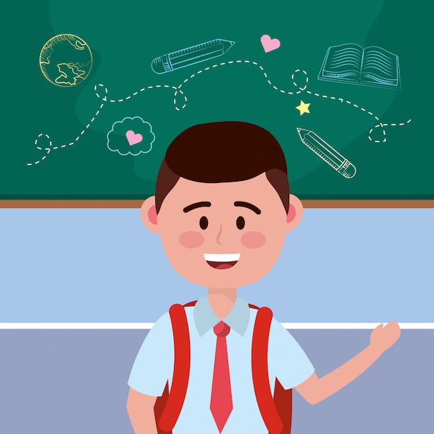 Boy kid of school Free Vector