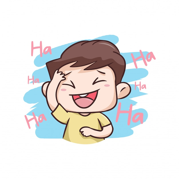 A boy laughing very happy illustration Premium Vector