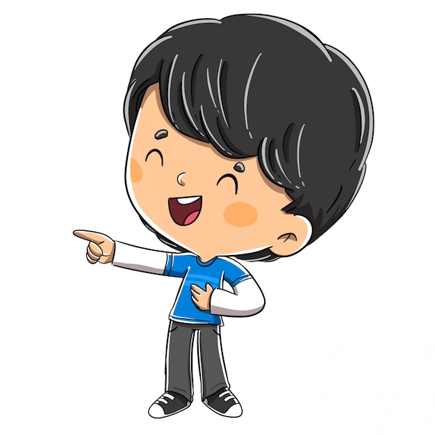 Boy laughing while pointing his finger Premium Vector