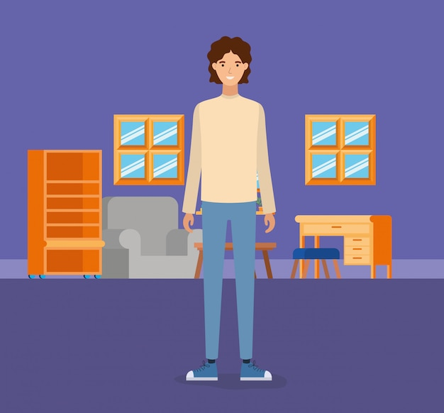 Boy in living room Free Vector