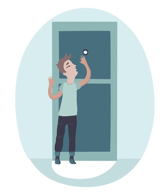 のぞき穴を見て、一人の怖いゲストへの扉を開く少年。 Premiumベクター