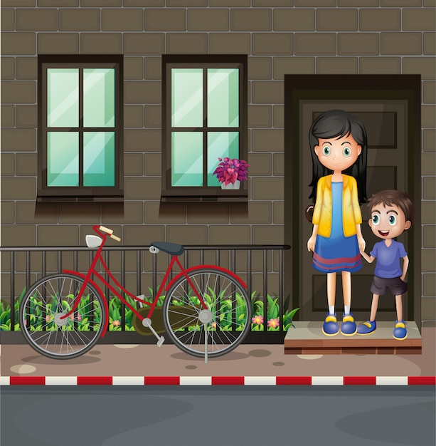 Boy and mother in front of a house Premium Vector