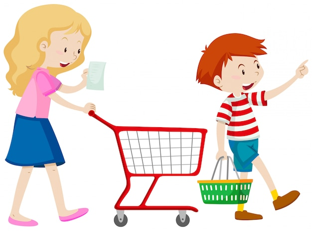 Boy and mother shopping for grocery Free Vector