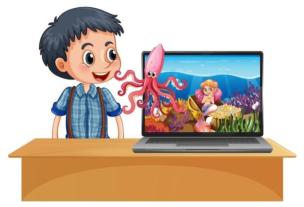 スペーステーマのデスクトップの背景を持つテーブルでノートパソコンの横にある少年 無料ベクター
