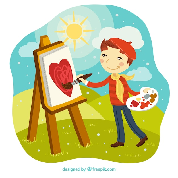 Boy painter in a landscape Free Vector