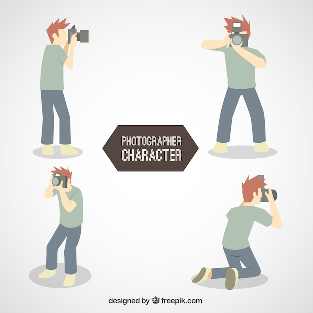 Boy photographer character Premium Vector