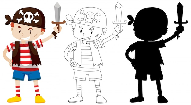 Boy in pirate costume with its outline and silhouette Free Vector